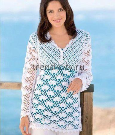 Пуловер крючком с завышенной талией