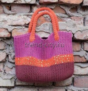 Разноцветная сумка крючком