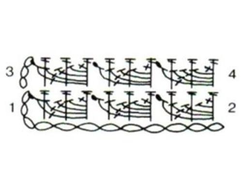 Рельефный узор крючком №1404 (схема)