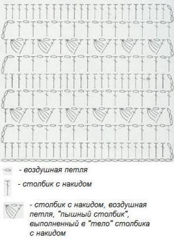 Рельефный узор крючком №1405 (схема)