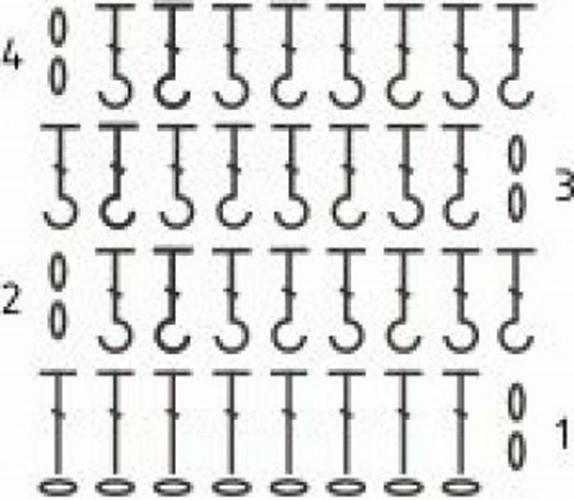 Рельефный узор крючком №1407 (схема)
