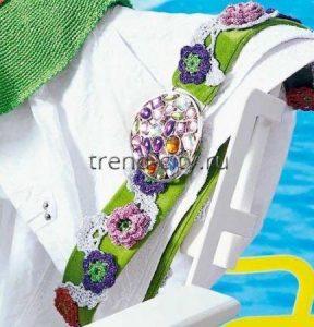 Ремень крючком с цветами