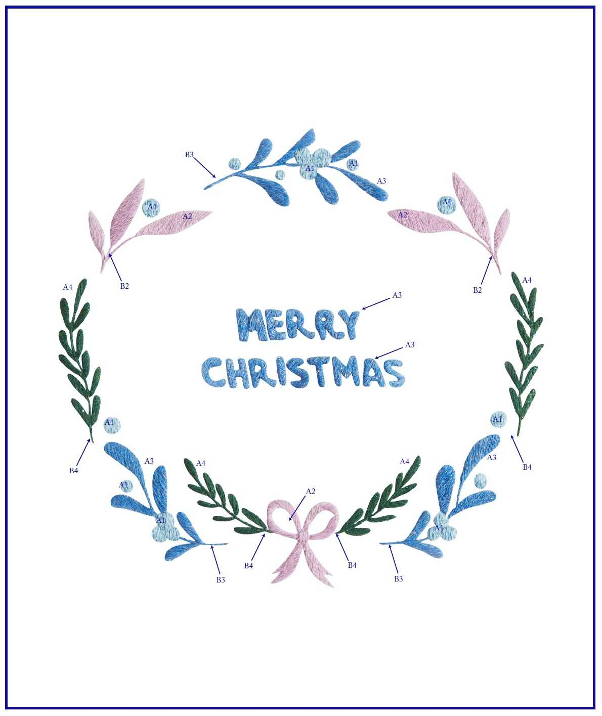 Рождественский венок схема вышивки гладью