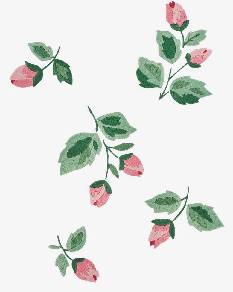 Розовые бутоны вышивка гладью