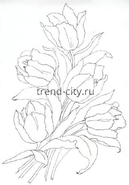 Схема вышивки гладью - Букет тюльпанов схема
