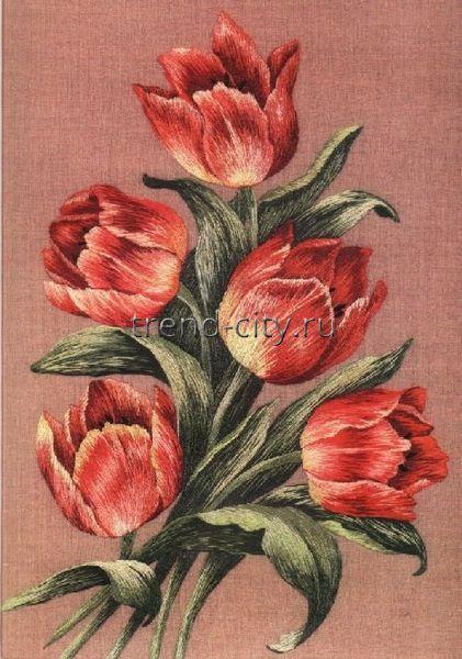 Схема вышивки гладью - Букет тюльпанов