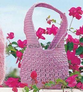 Сиреневая сумка крючком