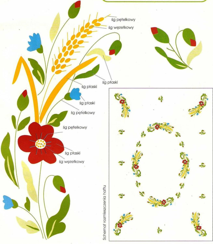 скатерть цветами гладью схема