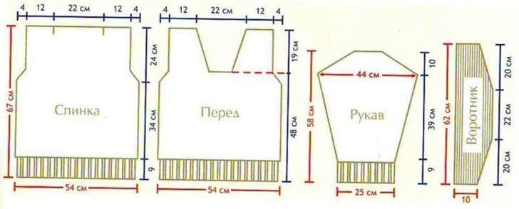 схема сборки свитера