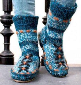 Тапочки-носки крючком