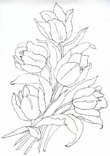 Тюльпаны схема гладью