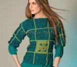 Укороченный пуловер крючком из мотивов