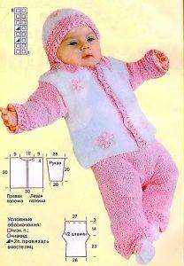 Вязаный комплект для малыша (розовый)