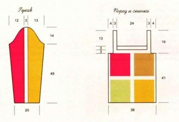 схема сборки пуловера