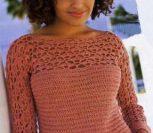 Вязаный женский пуловер с арочной кокеткой