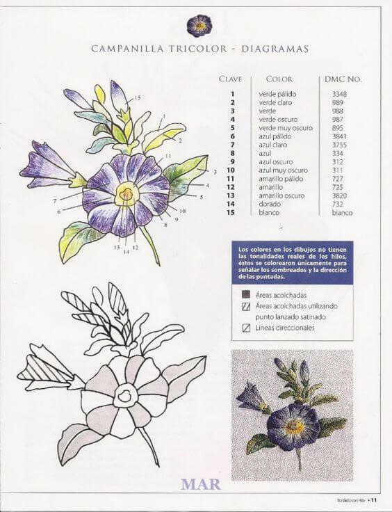Вышивка гладью цветов  схема