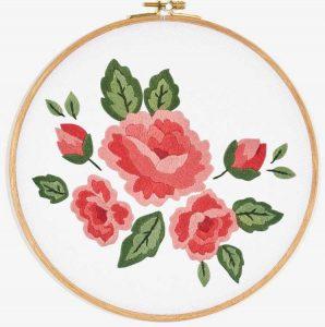 Вышивка Розы гладью