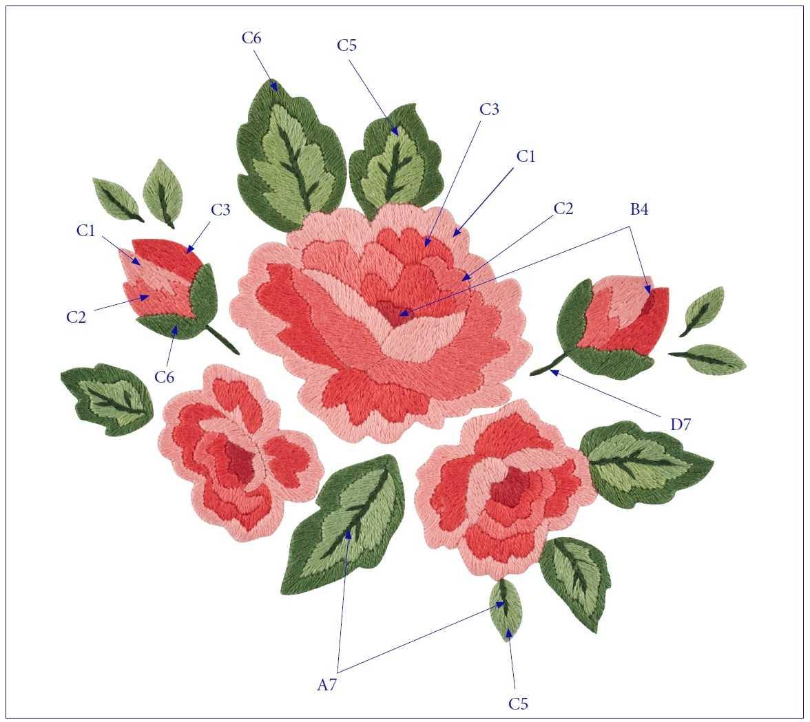 Вышивка Розы гладью схема 2