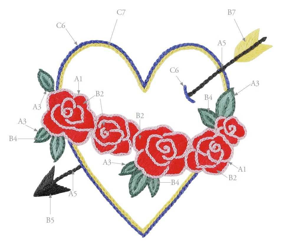 Вышивка сердечко со стрелой гладью схема 2