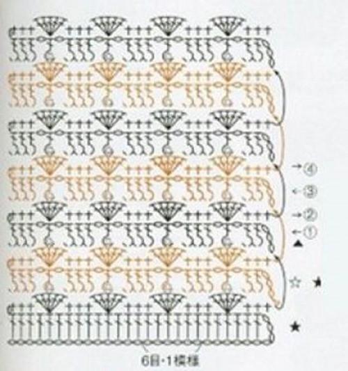 Жаккардовый узор крючком №1006 (схема)