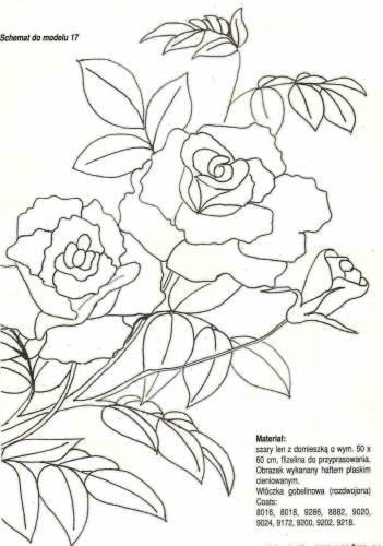 Желтые розы схема вышивки гладью