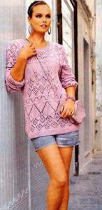 Женский пуловер узором из ромбов и зигзагов