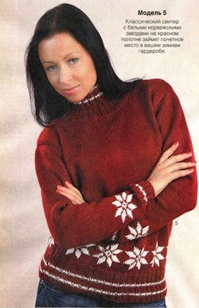 Женский свитер со снежинками