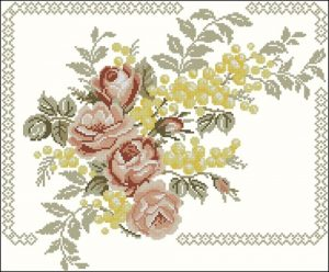 Cushion with Roses and Mimosa
