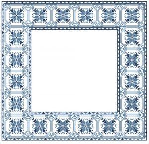 Квадратная салфетка в голубых тонах