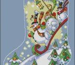 Sledding Snowmen Stocking