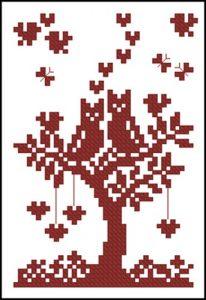 Дерево с сердечками (миниатюра)