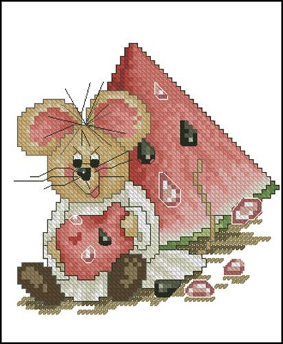 Мышка с арбузом