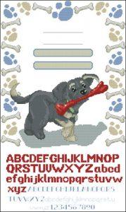 Birth sampler with a dog