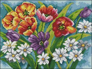 Тюльпаны и ромашки