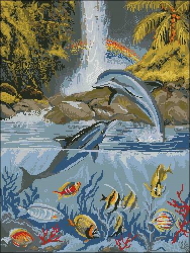 Дельфины под водопадом