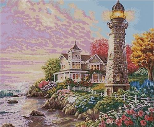 "Морской пейзаж ""Закат и маяк"""