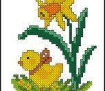 """Пасхальная вышивка """"Цыпленок и цветок"""""""