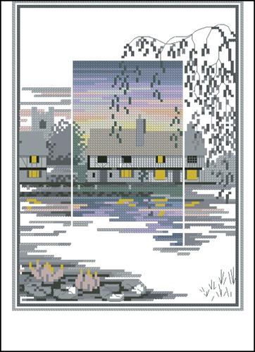 Дом с прудом, заросшим лилиями