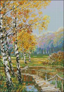 Осенний пейзаж, сельская живопись