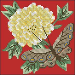 Бабочка и цветок (на красном)