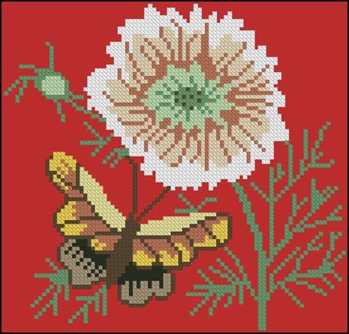 Бабочка и цветок 2 (на красном)