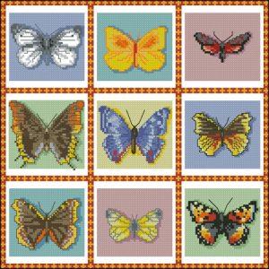 9 бабочек