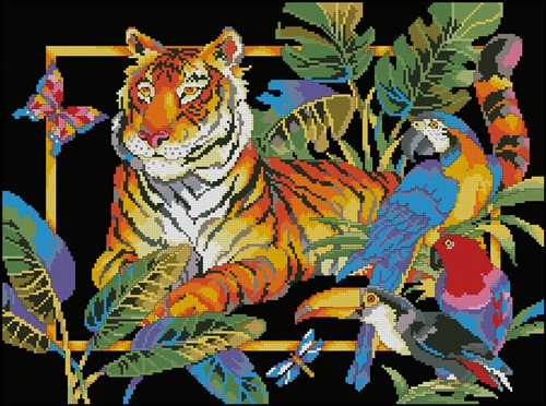 Tiger and Parrots