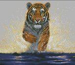 Тигр бежит по воде