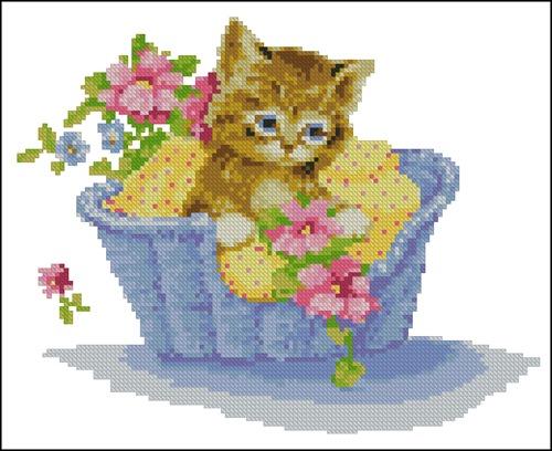 Котёнок в корзинке