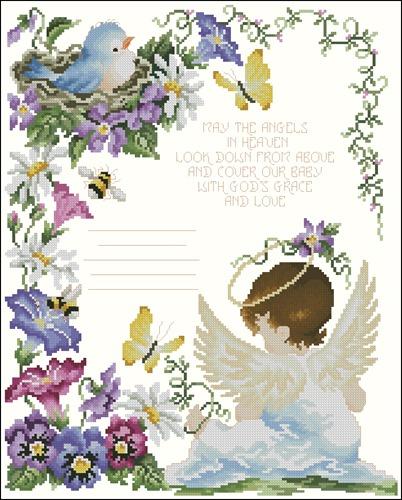 Angels in Heaven Birth Sampler
