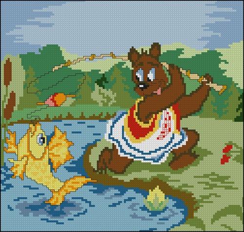 Мишка и золотая рыбка