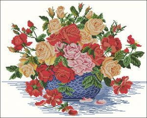Roses in a blue