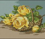Букет из желтых роз в корзине