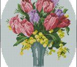 Букет с тюльпанами в овале